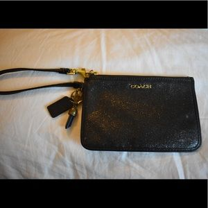COACH black sparkly wallet